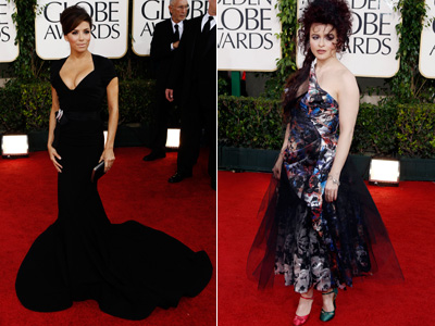 Eva Longoria, left, and Helena Bonham Carter, on the Golden Globes´ red carpet prior to the awards ceremony. (AP Photos)