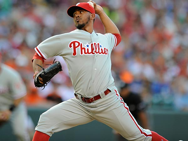 Philadelphia Phillies relief pitcher Antonio Bastardo (37) delivers a pitch against the Baltimore Orioles during a MLB baseball game, Saturday, June 9, 2012, in Baltimore. The Orioles won 6-4 in 12 innings. (AP Photo/Nick Wass)