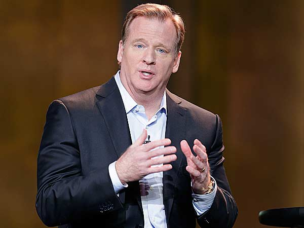 NFL Commissioner Roger Goodell speaks at the Consumer Electronics Show, Tuesday, Jan. 8, 2013, in Las Vegas. (AP Photo/Julie Jacobson)