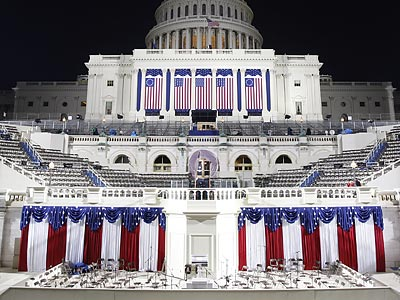 The stage is set outside the U.S. Capitol for Barack Obama to be sworn in as the 44th President of the United States. (Scott Andrews/AP)