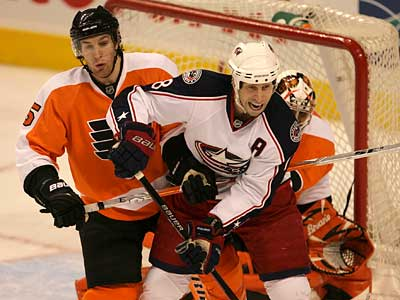 Umberger doing the dirty work on Tuesday night.
