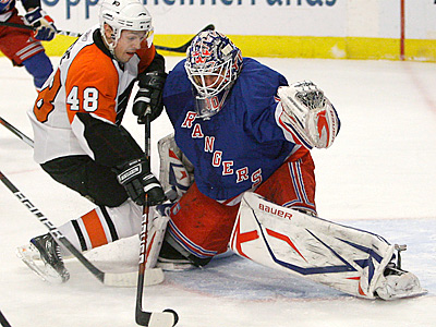 The Flyers and Rangers are tied in the standings with 55 points each. (AP Photo/Julie Jacobson)