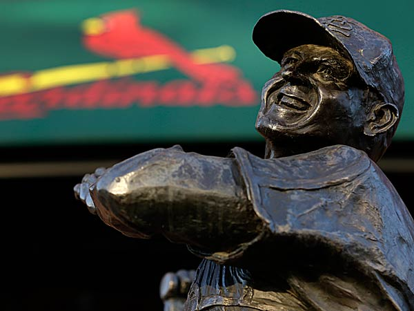 A statue of former St. Louis Cardinals baseball player Stan Musial stands outside Busch Stadium. (Jeff Roberson/AP)