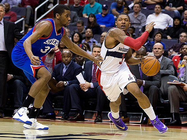 Bradley Beal torched the 76ers for 22 points, eight assists and nine rebounds. (Evan Vucci/AP)