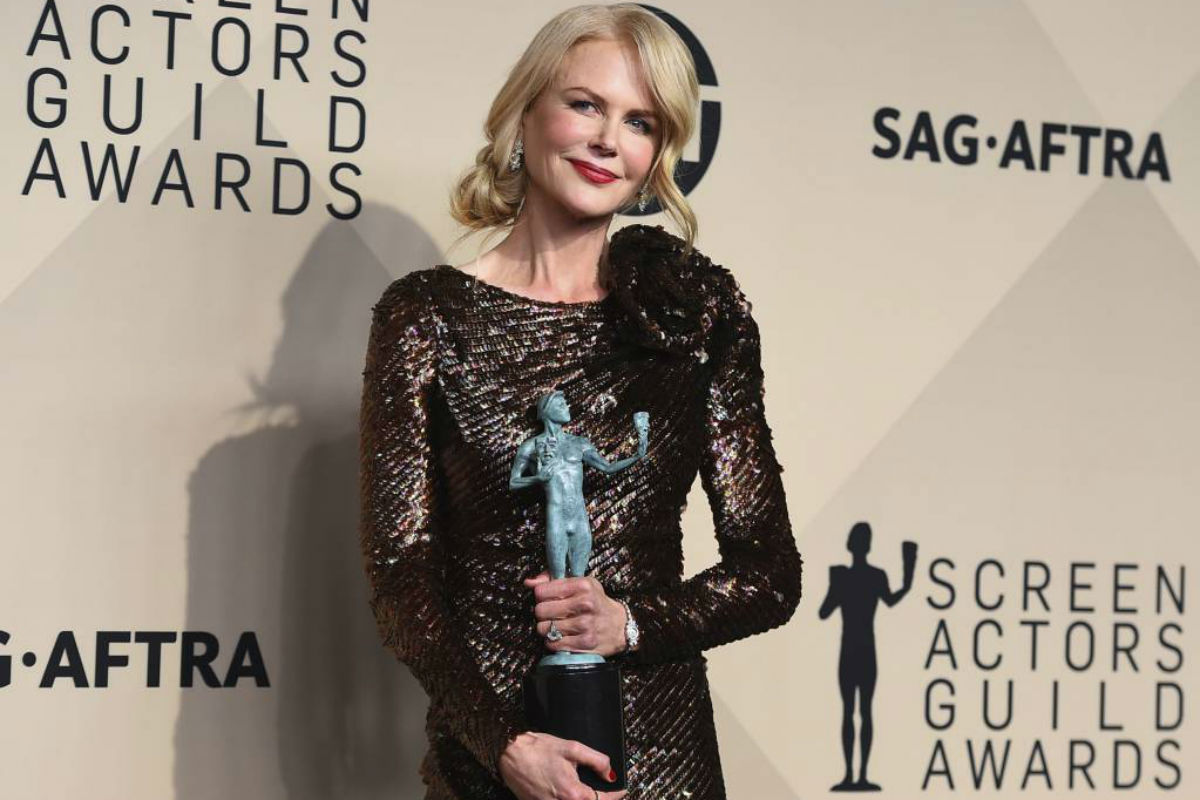 """Nicole Kidman, winner of the award for outstanding performance by a female actor in a television movie or limited series for """"Big Little Lies"""", poses in the press room at the 24th annual Screen Actors Guild Awards at the Shrine Auditorium & Expo Hall on Sunday, Jan. 21, 2018, in Los Angeles."""