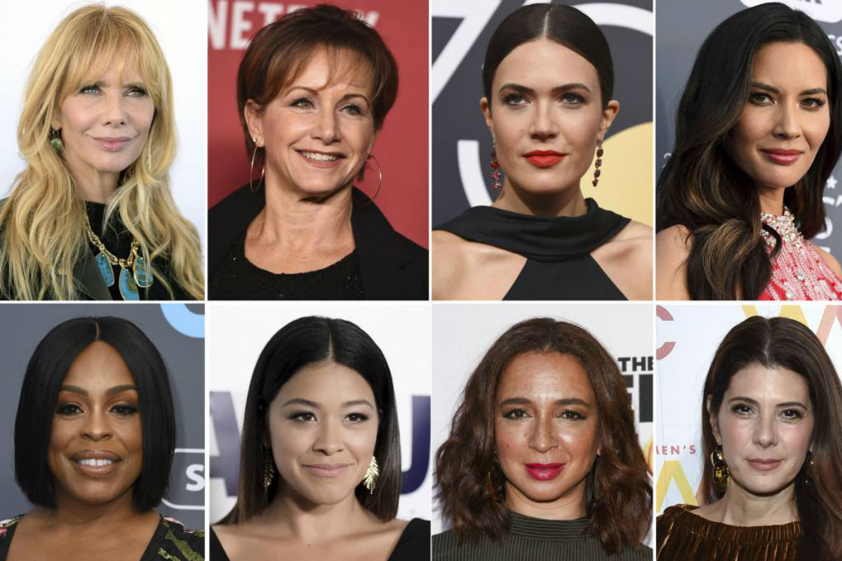 This combination photo shows, top row from left, Rosanna Arquette, SAG-AFTRA President Gabrielle Carteris, Mandy Moore, Olivia Munn and bottom row from left, Niecy Nash, Gina Rodriguez, Maya Rudolph and Marisa Tomei, who will present awards at Sunday's Screen Actors Guild Awards.