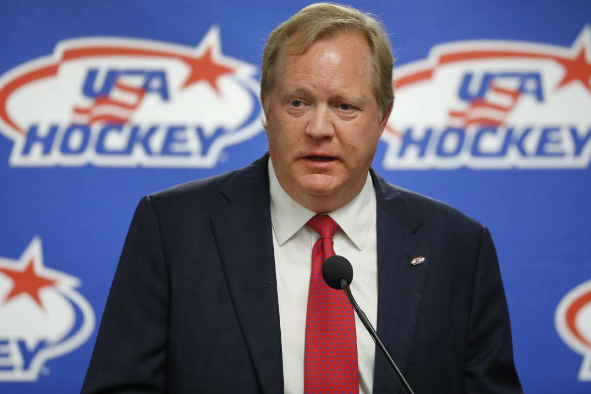FILE - This Aug. 4, 2017 file photo shows Jim Johannson speaking during a news conference in Plymouth, Mich. Johannson, the general manager of the U.S. Olympic men´s hockey team, has died just a couple weeks before the start of the Pyeongchang Games, Sunday, Jan. 21, 2018. He was 53.