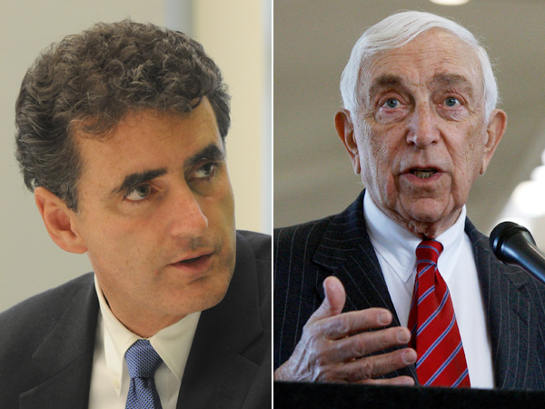 Congressman Mike Fitzpatrick (left), a Bucks County Republican, and New Jersey Sen. Frank Lautenberg. (File Photos)