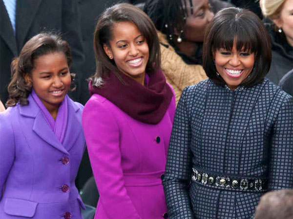 The Obama women in beautiful coats on Inauguration Day.