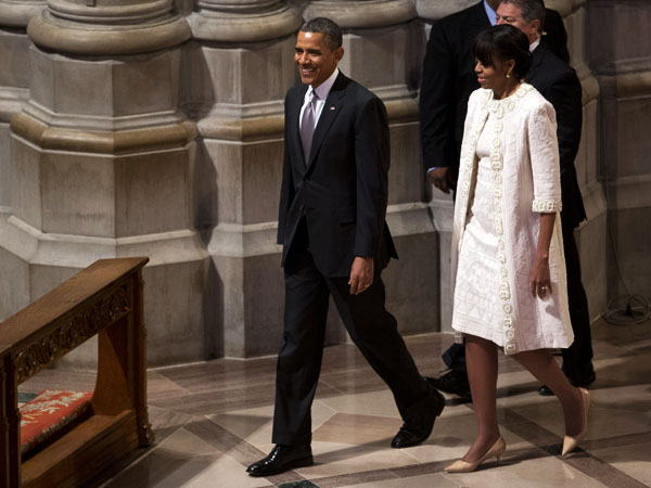 FLOTUS opts for winter white Naeem Kahn coat and matching dress ...