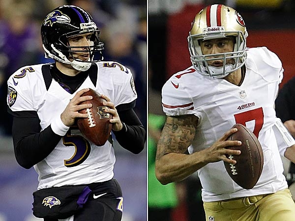 Baltimore´s Joe Flacco and San Francisco´s Colin Kaepernick are the two quarterbacks in the Super Bowl. (AP Photos)