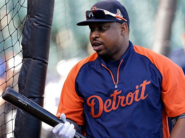 Detroit Tigers´ Delmon Young walks out of the batting cage after taking batting practice before Game 2 of baseball´s World Series against the San Francisco Giants Thursday, Oct. 25, 2012, in San Francisco. (AP Photo/Marcio Jose Sanchez)