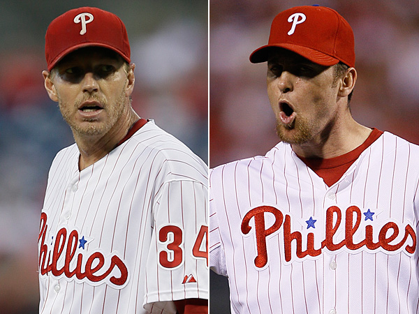 Former Phillies pitcher Roy Halladay (left) and Brad Lidge. (Matt Slocum/AP file photos)