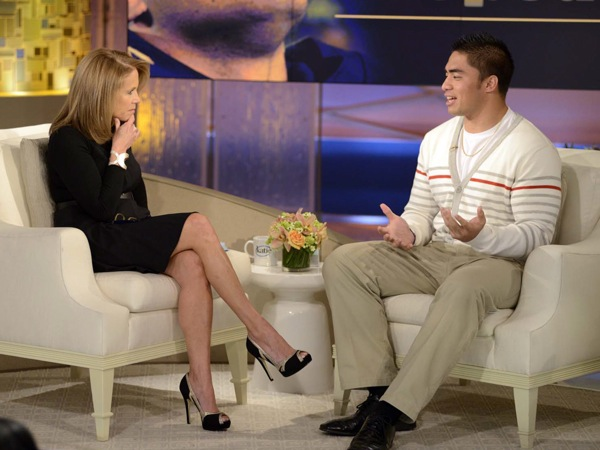 "This Jan. 22, 2013 photo released by ABC Notre Dame linebacker Manti Te´o, right, speaking with host Katie Couric during an interview for ""Katie,"" in New York. Te´o has told Katie Couric that he briefly lied about his online girlfriend after discovering she didn´t exist, while maintaining that he had no part in creating the hoax. Pressed by Couric to admit that he was in on the deception, Te´o said he believed that his girlfriend Lennay Kekua had died of cancer and didn´t lie about it until December. The interview will air on Thursday, Jan. 24. (AP Photo/Disney-ABC, Lorenzo Bevilaqua)"