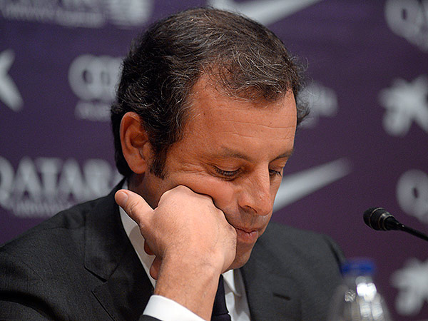 Barcelona president Sandro Rosell is stepping down a day after a judge agreed to hear a lawsuit accusing him of allegedly hiding the cost of the transfer of Brazil striker Neymar. (Manu Fernandez/AP)