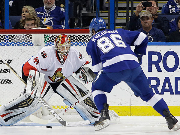 Lightning right wing Nikita Kucherov (86), of Russia, prepares to score on Ottawa Senators goalie Craig Anderson (41) during a shootout in an NHL hockey game Thursday, Jan. 23, 2014, in Tampa, Fla. The Lightning won the game 4-3. (Chris O´Meara/AP)