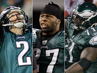 David Akers, Quintin Mikell, and Jason Peters were all named second-team All-Pro. (AP Photos)