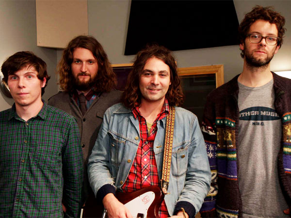 Dave Hartley (right) plays bass in the War On Drugs, with (from left) Steven Urgo, Robbie Bennett, and Adam Granduciel.