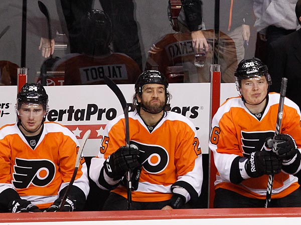Long faces on Flyers bench after an empty net goal sealed the deal , 3-1<br />Penguins. Philadelphia Flyers vs Pittsburgh Penguins on Saturday,<br />January 19, 2013.  (Ron Cortes / Staff Photographer)
