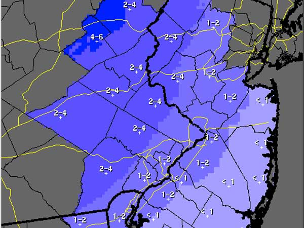 This National Weather Service map shows expected snowfall totals for the Philadelphia region for Saturday, Jan. 25.