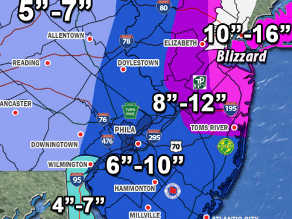 Projected snowfall map