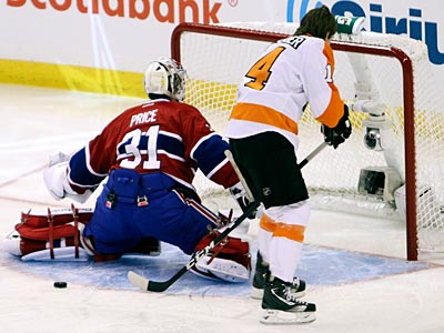 Sean Couturier fails to score on Canadiens goalie Carey Price on Saturday. (Fred Chartrand/AP/The Canadian Press)