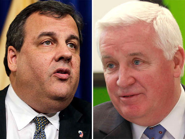 New Jersey Gov. Chris Christie (left) and Pennsylvania Gov. Tom Corbett are both Republicans. (File photos)