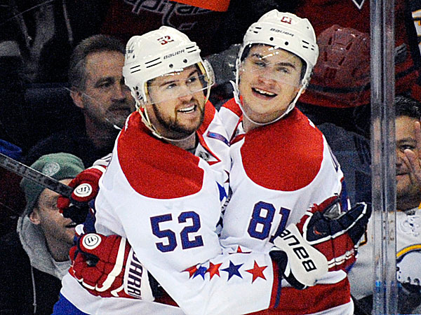 Capitals defenseman Mike Green celebrates his goal with defenseman Dmitry Orlov. (Gary Wiepert/AP)