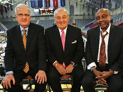 Speedy Morris, Rollie Massimino and John Chaney were inducted into the Big Five Hall of Fame. (Alejandro A. Alvarez / Staff Photographer)