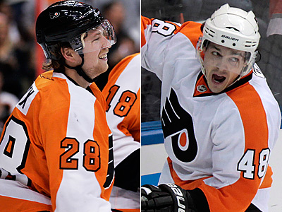 Claude Giroux, left, and Danny Briere will face off tonight in the Super Skills competition. (AP Photos)