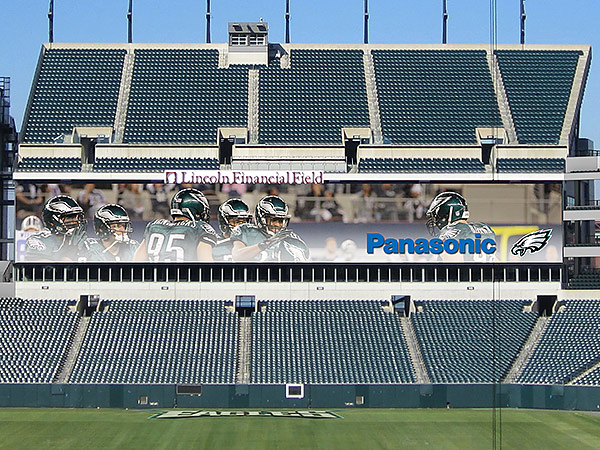 A rending of the new video boards that will be installed above the end zones at Lincoln Financial Field. (Courtesy of the Philadelphia Eagles)