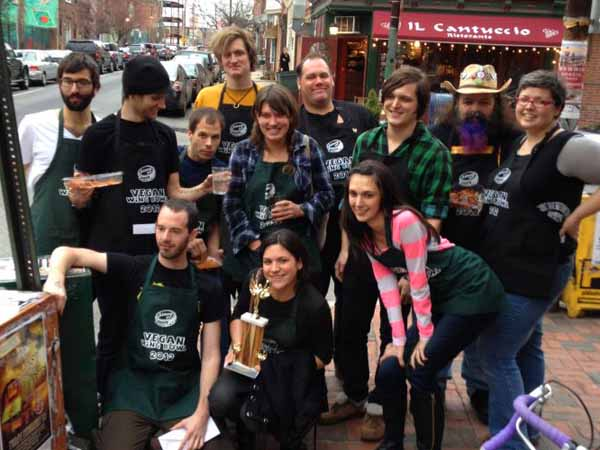 Competitors in the 2012 edition of the Vegan Wing Bowl gather on the sidewalk in front of the Northern Liberties bar The Abbaye . (Photo c/o Philly Roller Girls)
