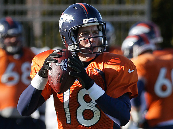 Broncos quarterback Peyton Manning (18) passes during practice Wednesday, Jan. 29, 2014, in Florham Park, N.J. The Broncos are scheduled to play the Seattle Seahawks in the NFL Super Bowl XLVIII football game Sunday, Feb. 2, in East Rutherford, N.J. (Mark Humphrey/AP)