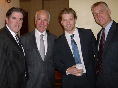 Flyers coach Peter Laviolette, Chairman Ed Snider, center Claude Giroux and general manager Paul Holmgren (Marc Narducci/Staff)