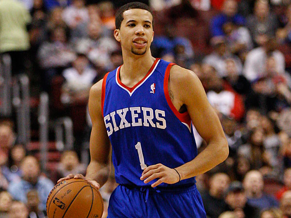 Michael Carter-Williams in action during the second half of an NBA basketball game against the Oklahoma City Thunder, Saturday, Jan. 25, 2014, in Philadelphia. The Thunder won 103-91. (Chris Szagola/AP)