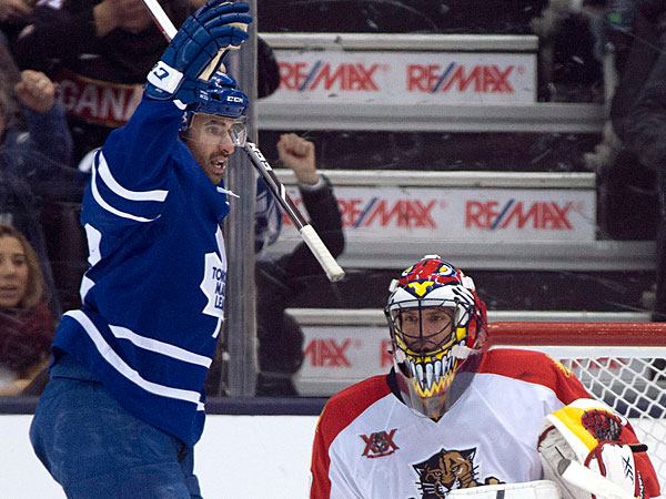 Maple Leafs center Nazem Kadri, left, celebrates teammate Nikolai Kulemin´s goal on Florida Panthers goaltender Scott Clemmensen during the third period of an NHL hockey game in Toronto on Thursday, Jan. 30, 2014. Toronto won 6-3. (AP Photo/The Canadian Press, Frank Gunn)