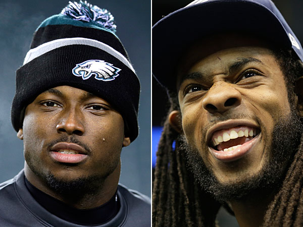 Eagles running back LeSean McCoy and Seahawks cornerback Richard Sherman. (Michael Perez/AP) (Jeff Roberson/AP)