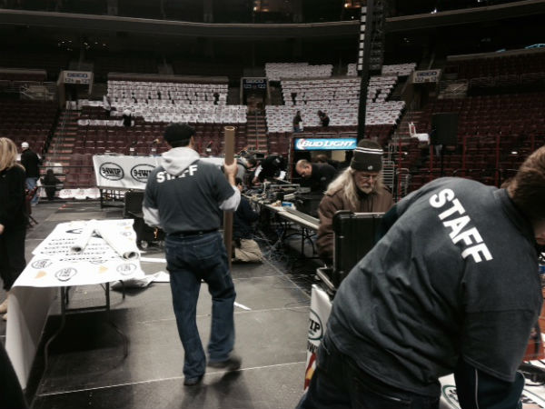 Wells Fargo Center operations workers set the stage for Wing Bowl 22.