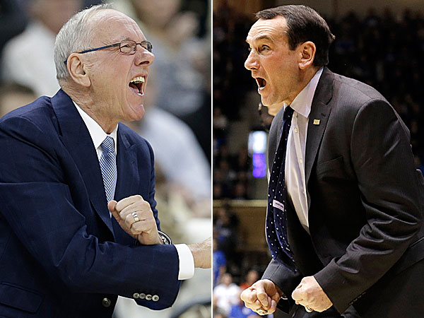 Syracuse head coach Jim Boeheim and Duke head coach Mike  Krzyzewski. (Gerry Broome/AP) (Chuck Burton/AP)