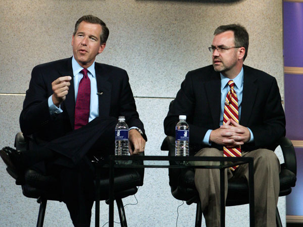 "Brian Williams, left, anchor of ""NBC Nightly News with Brian Williams,"" talks about the program with Steve Capus, president of NBC News, at the Summer Television Critics Association Press Tour Friday, July 21, 2006, in Pasadena, Calif. (AP Photo/Reed Saxon)"