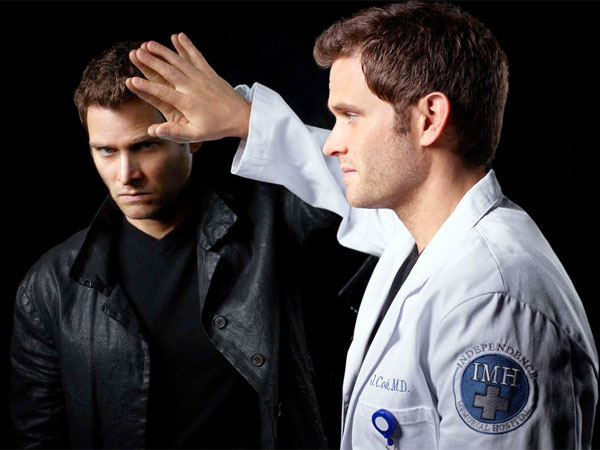 Steven Pasquale portrays Dr. Jason Cole (right) and his evil alter-ego Ian Price (left).