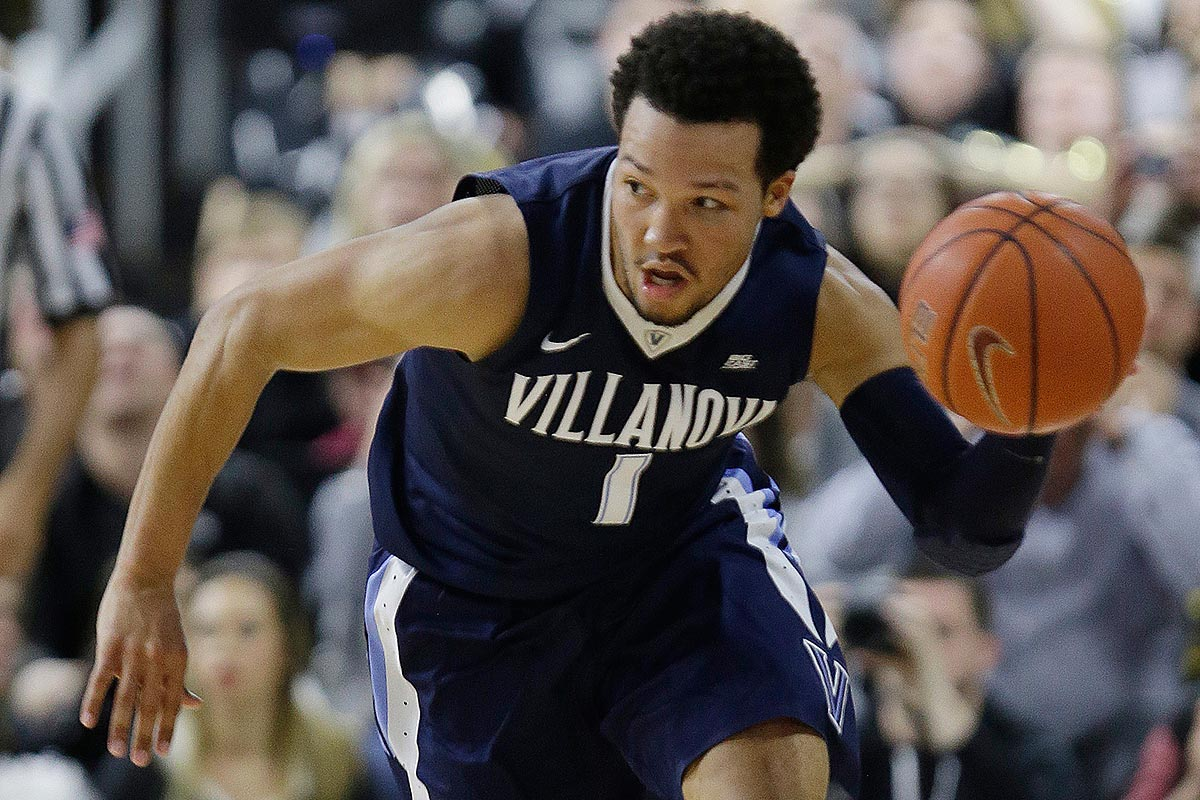 Villanova guard Jalen Brunson (1) brings the ball up court late in the second half of their NCAA college basketball game Wednesday, Feb. 1, 2017, in Providence, R.I. Villanova defeated Providence 66-57.