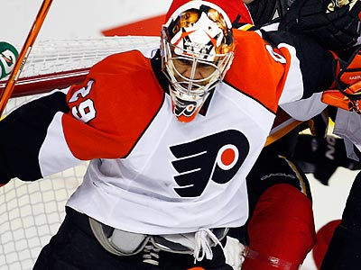 Ray Emery and the Flyers shutout Calgary, but Emery has been sidelined for tonight´s game. (Jeff McIntosh/Canadian Press/AP)