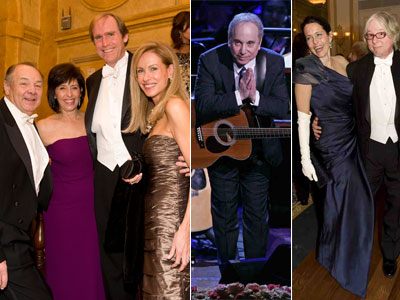 From left: Robert J. Hall, COO of Philadelphia Media Network, his wife, Ronna, Gregory J. Osberg, CEO and publisher, and his wife, Linda; Paul Simon; Joanna McNeil Lewis and Mike Mills, bassist for the band R.E.M