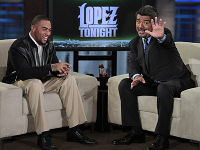 "Eagles wide receiver DeSean Jackson appeared on ""Lopez Tonight"" with George Lopez on Tuesday. (Courtesy of TBS)"