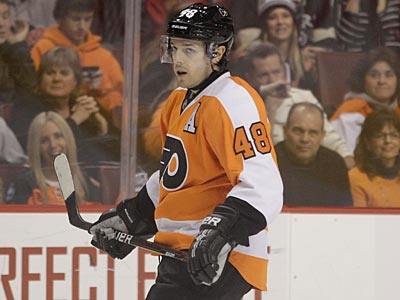 """This road trip comes at the right time,"" center Danny Briere said, ""we play pretty well on the road."" (Matt Slocum/AP)"