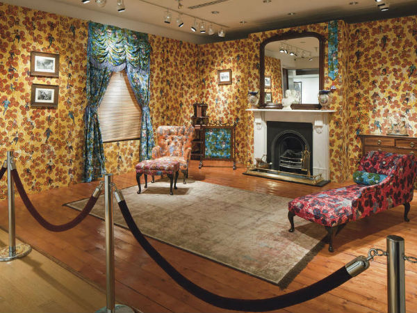 """Victorian Philanthropist´s Parlour,"" Yinka Shonibare´s 1996-97 mixed-media work. ""African"" textiles are printed in the Netherlands by a process developed in what is now Indonesia, formerly a Dutch colony; it´s the artist´s warning on stereotypes."