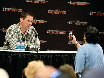 Cliff Lee entertained fans at a Q&A session at the Auto Show Wednesday night. (Ron Tarver/Staff Photographer)