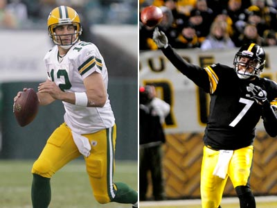 Aaron Rodgers and Ben Roethlisberger will battle in the Super Bowl this Sunday. (Staff and AP Photos)