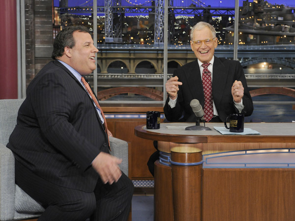 "In this photo released by CBS Broadcasting, New Jersey Gov. Chris Christie, left, and late night host David Letterman, right, react with laughter during the Governor´s first visit to CBS' ""Late Show with David Letterman,"" on Monday, Feb. 4, 2013 in New York. (AP Photo/CBS Broadcasting, Jeffrey Neira)"